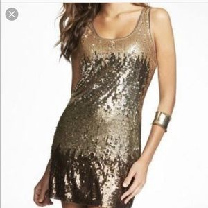 Express Ombré Gold Sequin Dress